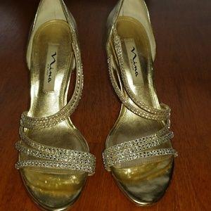 Gold Nina heels